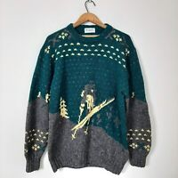 Vintage Mens Size L 100% Wool Green Yellow Ski Crew Chunky Knit Sweater