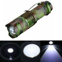 Mini Camouflage CREE Q5 2000LM 3 Mode Zoomable LED Flashlight Torch Lamp Light
