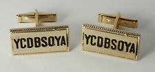 "Vintage Gold Plated Brass & Black  Enamel ""YCDBSOYA""  Men's Cuff Links NOS"