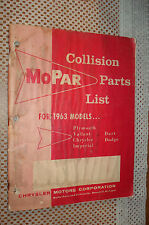 1963 Plymouth Chrysler Dodge Collision Parts Book Original Mopar List Catalog