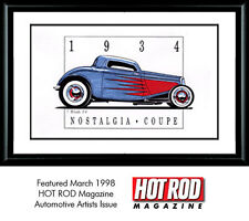Garage Art Print Hot Rod Ford Coupe print signed by artist, designer Tim Woods