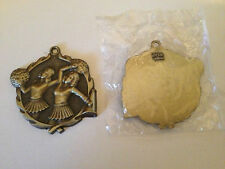 "Two / Cheerleading gold 1 3/4"" dia medal award"