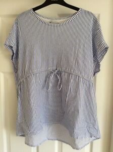 Zara Blue Stripe Top Size S With Tie Pre Owned