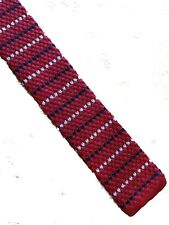 Slim knitted flat end silk tie 6.5cm mod style red navy & white stripes