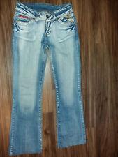 stretch hüft jeans mit schlag stickerei und steinchen miss vivi gr 38