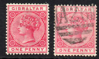 Gibraltar 1d x 2 Stamps Mounted Mint & Used c1886-87 (1769)