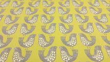 Scandi aves Verde Kiwi Cortina Craft tapicería de diseño de tejido de algodón