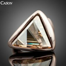 Fashion Austrian Crystal Triangle Engagement Ring 18K Gold Plated Gold Jewelry