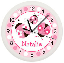 Pink Ladybug Wall Clock Nursery Decor Children'S Personalized Lady Bug Pink Baby