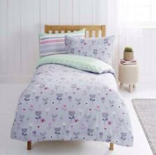 TWIN PACK SINGLE DUVET COVER SET LILAC MINT WHITE FLORAL CHECK STRIPES GIRLS