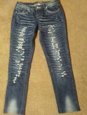 Almost Famous Size 3 Distress Stretch Straight Leg Jeans Juniors Jeans
