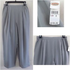 NWT Talbots pants 8 Pure silk knit Gray Wide leg Elastic waist Pull-on M Lined