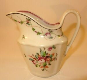 Antique New Hall Pink Floral Creamer Cream Milk Jug Pattern 241 c1800 Lot O VGC