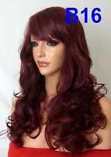 Wine Red Plum Wig Natural Curly Fashion Party Full Women Ladies Long Wig B16