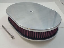 """12"""" Oval Polished Alumunim Smooth Air Cleaner W / Washable Filter SBC BBC Ford"""