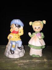 Vintage Jasco Merri Bells Tiny Tim A Christmas Carol Porcelain Bell + Girl ��m17