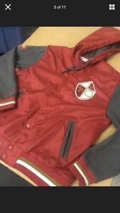 Mitchell & Ness San Francisco 49er Red Throwback Hooded Jacket Large