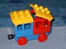 Lego Duplo Eisenbahn Personen Wagon f. Schienen Anhänger  blau / gelb/rot