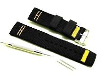 22mm Black Nylon Watch Band Stainless Steel Buckle With Spring Bar Remover Tool