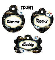Pet ID Tag Steelers NFL Personalized Custom Double Sided Pet Tag w/name & number