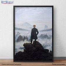POSTER Friedrich Viandante sul mare di nebbia STAMPA FOTOGRAFICA - TELA CANVAS