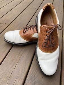 ECCO Gore-Tex Leather Men's Golf Shoes Sz 9 9 1/2, EU 43, Brown & White Saddle