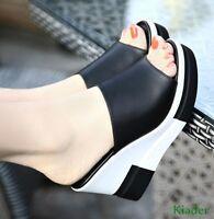 Womens Peep Toe High Wedge High Heels Platform Summer Slippers Sandals Shoes