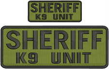 Sheriff k9 unit embroidery patches 4x10 and 2x5 hook on back black letters od