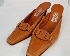 FERRAGAMO Womens Caramel Leather Square Toe Mules Heels Shoes Sz8/B Made Italy