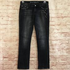 Womens G-Unit Jeans Size 9 Dark Gray Wash Straight Leg Studded Bling Rock Star