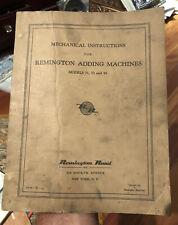 MECHANICAL INSTRUCTIONS REMINGTON  ADDING MACHINES Models 71 73 93 CATALOG