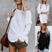 Plus Size Women's Long Sleeve Solid Chic Blouse Fashion Blouse Top T-shirt White