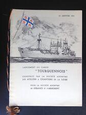 Ancienne plaquette Menu Cargo Tourquennois 1951 TBE