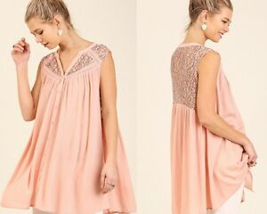 Umgee Dusty Rose Lace Button Down Sleeveless Oversized Tunic Blouse