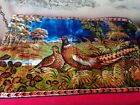 """Vintage Pheasant Tapestry 37""""X19 1/2"""" with fringe wall hanging"""