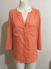 H&M Top Orange Blouse Shirt Career Button Pocket 3/4 Sleeve V Neck Satin Sateen