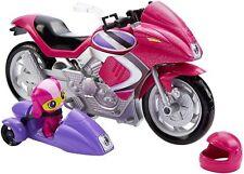 Barbie escuadrón de espía agente secreto Rosa Motocicleta con Sidecar DHF21 Desmontable