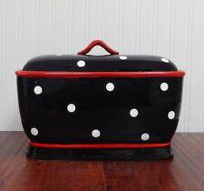 Ceramic Bread Box Black Red White Polka Dot Canister Decorative Kitchen Storage