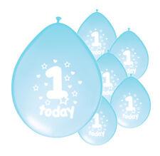 "10 X 1ST BIRTHDAY BOY BALLOONS ""1 TODAY"" FIRST BIRTHDAY BALLOONS LIGHT BLUE"