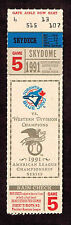 1991 ALCS GAME 5 TICKET STUB   Minnesota Twins vs  Toronto Blue Jays