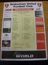 Colore 09/04/2005 teamsheet: Rotherham Uniti V Preston NORTH End [ RUBRICA NERO