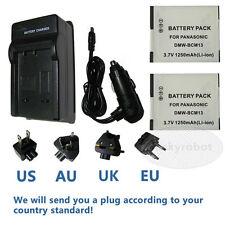 2* Battery+Charger For Panasonic Lumix DMC-TS5 DMC-FT5 DMC-LZ40 Digital Camera