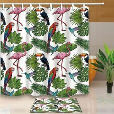 Flowers Seamless Pattern Parrot Flamingo On Tropical Palm Leaves Curtain Set