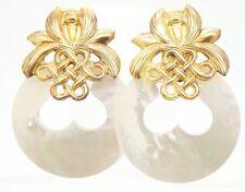STEPHEN DWECK Sterling Silver 925 Huge MOP Clip Earrings Drop Dangle Convertible