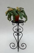 Vintage Metal Plant Stand & Fern in Terracotta Pot Dollhouse Miniature 1:12