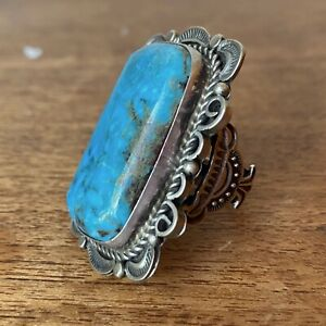 Native American Silver Ring With Large Turquoise Stone. Size US9.5 - S 1/2