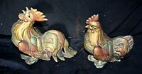 Vintage Pair GSC Hen, Rooster Figures Gold Turquoise Red Gilding