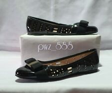 SALVATORE FERRAGAMO Perforated Black Patent Leather Ballerina Doll Shoes Size 6