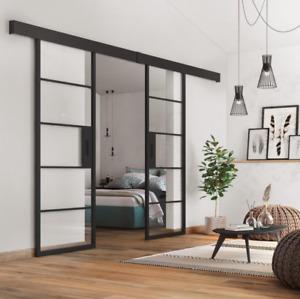 Industrial Metal Interior Double Sliding Doors 1460mm