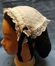 Ladies Victorian Medieval American civil war mop cap holly print white lace